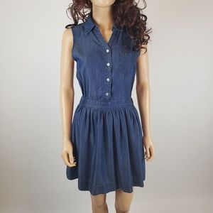 Kensie Chambray Denim Ruffle Fit Flare Tank Dress